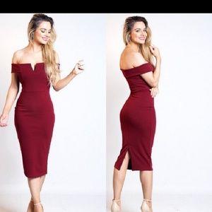 Red Wine Bardot Dress